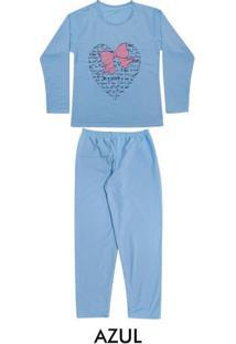 Pijama Longo Moletinho Feminino Adulto Luna Cuore