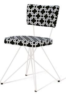 Cadeira Pop Retro Estampa Rolls Preto Base Estrela Branca - 49601 - Sun House