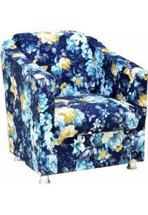 Poltrona Decorativa Lyam Decor Laura Azul Estampado