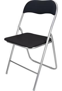 Cadeira Em Aço Dobrável 44X90Cm Preta