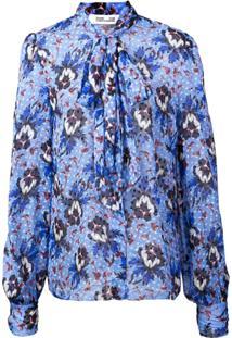 Dvf Diane Von Furstenberg Blusa Floral - Azul