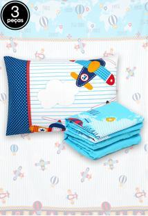 Jogo De Cama 3Pçs Solteiro Santista Infantil Aviões Azul