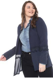 Maxi Cardigan Secret Glam Plus Size Recortes Azul