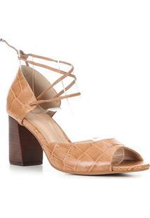 Sandália Couro Shoestock Salto Bloco Croco Feminina - Feminino-Caramelo