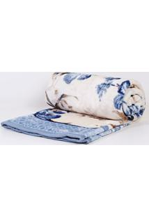 Cobertor King Size Corttex Azul/Off White