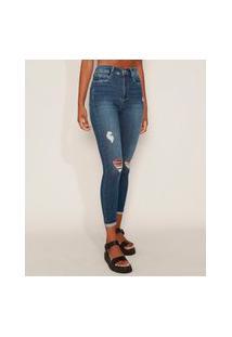 Calça Jeans Feminina Sawary Super Skinny Super Lipo Cintura Alta Destroyed Com Barra Dobrada Azul Escuro
