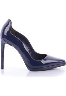 Scarpin Elda Di Valentini Verniz Feminino - Feminino-Azul