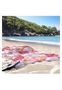 Toalha De Praia / Banho Flamingos Pink Poá Único