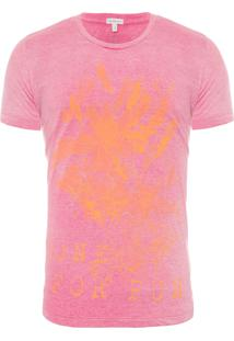 Camiseta Masculina Manga Curta Done For Fun - Rosa