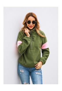 Casaco Feminino Jhesey Gola Alta Com Zipper - Verde Militar