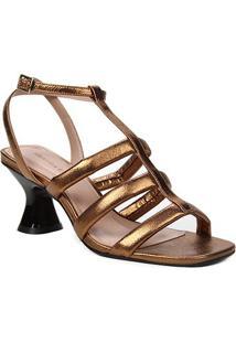 Sandália Couro Shoestock Salto Médio Tiras Feminina - Feminino-Bronze