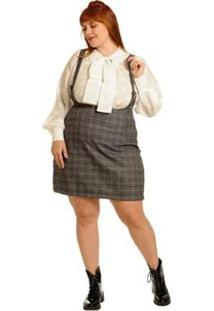 Salopete Plus Size Xadrez Gales - Feminino-Cinza+Chumbo