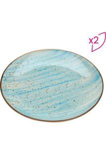 Jogo De Pratos Watercolor Para Sobremesa- Azul & Bege Clbon Gourmet