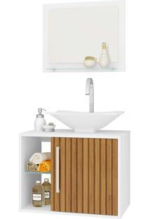 Gabinete Banheiro Baden C/ Cuba E Espelheira Branco Móveis Bechara