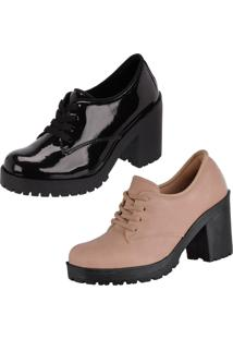 Oxford Cr Shoes Salto Grosso Preto Nude