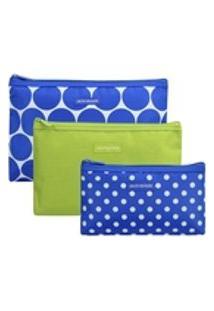 Kit Necessaire 3 Peças Bolinhas Jacki Design Azul E Verde