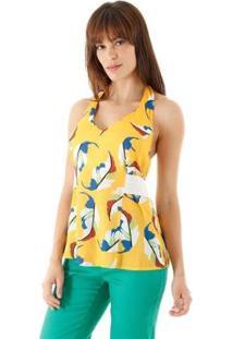 Blusa Frente Única Acinturda Estampa Folhagem Com Elástico Aha Feminina - Feminino-Amarelo+Azul