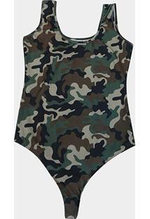 Body Naif Plus Size Camuflado - Feminino-Verde