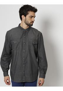 Camisa Com Bolsos- Cinza Escuro- Heringhering