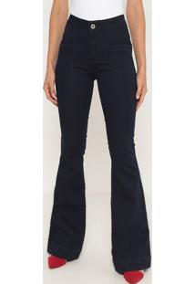 Jeans Flare Com Zíper- Azul Escuro- Ennaenna
