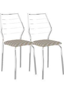 Cadeira 1716 02 Unidades Retrô Metalizado/Cromada Carraro