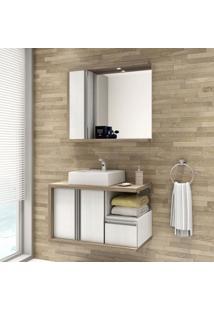 Gabinete Para Banheiro Com Espelheira Blanc 80 Balcony Não Acompanha Cuba E Torneira Artico/Merlot