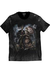 Camiseta Di Nuevo Cemitério Caveira Mexicana Preta