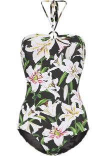 271108efd Dolce & Gabbana Maiô Frente Única Floral - Preto