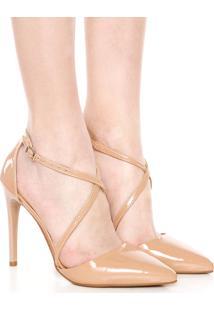 Scarpin Dafiti Shoes Tiras Transpassadas Bege