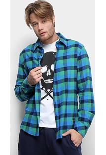 Camisa Xadrez Manga Longa Ellus 2Nd Floor Wool Seattle Masculina - Masculino-Verde Claro