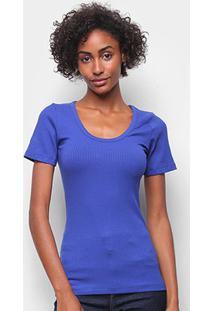 Camiseta Forum Canelada Gola U Feminina - Feminino-Azul Escuro