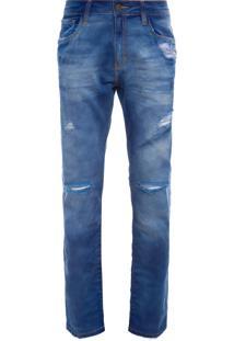 Calça Masculina Straight Bulgaria 3D - Azul