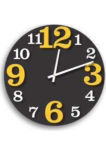 Relógio De Parede Premium Preto Ônix Com Números Em Relevo Branco E Amarelo 50Cm Grande