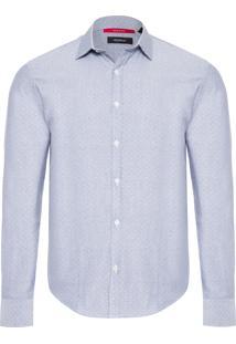 Camisa Masculina Enxuto Oxford Pois - Azul