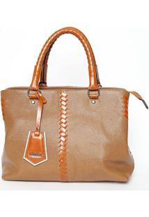 Bolsa Transversal Em Couro Com Bag Charm- Marrom- 24Iã³Dice