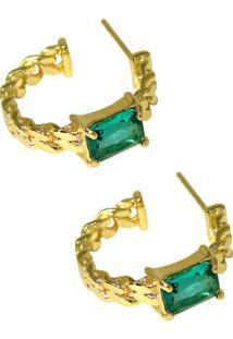 Brinco Infine Argola Elos Pequena Com Cristal Verde Turmalina Banhado A Ouro