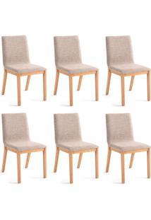 Conjunto Com 6 Cadeiras De Jantar Dora Lisa Dourado E Carvalho