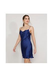Vestido Slip Dress Feminino Mindset Curto Acetinado Alça Fina Gola Degagê Azul Marinho