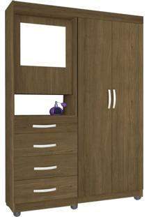 Guarda-Roupa Mega 2 Portas Com Espelho Amêndoa - Móveis Primus