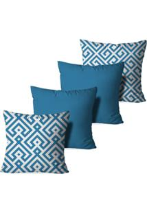 Kit 4 Capas Love Decor Para Almofadas Decorativas Blue Abstrato Multicolorido Azul