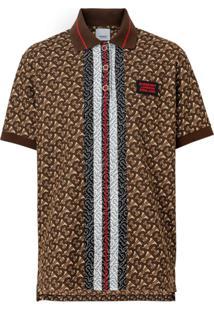 Burberry Camisa Polo Oversized Com Monograma E Listras - Marrom