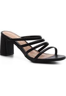 Sandália Shoestock Salto Bloco Snake Feminina - Feminino-Preto
