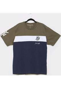 Camiseta Industrie Listrada Especial Logo Plus Size Masculina - Masculino-Verde Militar