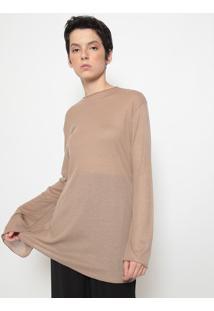Blusa Alongada E- Fabrics Com Linho-Marromosklen