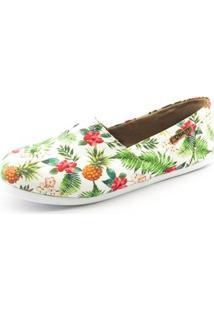 Alpargata Quality Shoes Abacaxi Feminina - Feminino-Branco+Verde