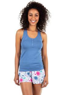 Pijama Curto Estampado Homewear Azul | 589.075