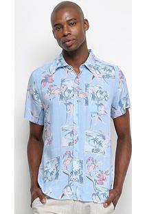 Camisa Manga Curta Pacific Blue Beach Masculina - Masculino-Azul Claro