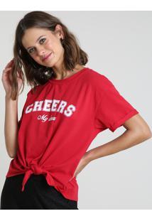"""Blusa Feminina """"Cheers"""" Manga Curta Decote Redondo Vermelha"""