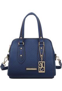 Bolsa Texturizada Com Tag- Azul Marinho- 22X24X13Cm