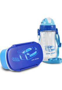 Conjunto Pote Para Lanche E Squeeze Infantil Menino Carro Jacki Design Sapeka Azul Marinho